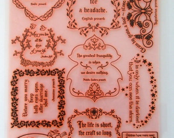 """Proverbs and Sentences / Clear stamps large sheet (7""""x10"""") UM FLONZ 403-66"""