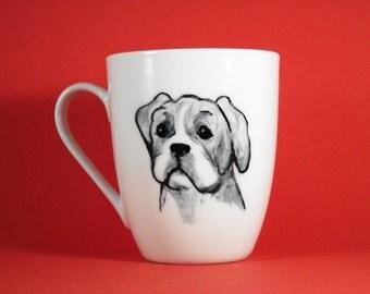 Boxer puppy hand painted art on coffee mug