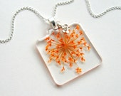 Orange Queen Anne's Lace - Real Flower Garden Necklace - Pressed flower, natural, garden, everyday casual, minimal, summer, ooak, gift