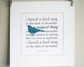 I Heard A Bird Sing / screenprint / bird art, blue bird, typography, spring print, winter print, bedroom art print, wall art, poem art