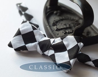 Bowtie - mens,  freestyle bow tie for men, self tie - adjustable in this fabulous bold check fabric.