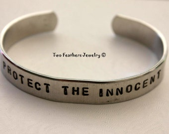 Hand Stamped Cuff Bracelet - PROTECT THE INNOCENT - Inspirational Jewelry - Message Bracelet - Pro Life Jewelry - Non Tarnish - Two Feathers