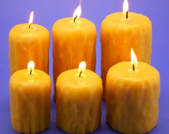 Bees Wax Candles, Drip Finish Beeswax Pillar Candles, Bulk Beeswax Candles, Beeswax Candle Collection, Handpoured Beeswax Candles