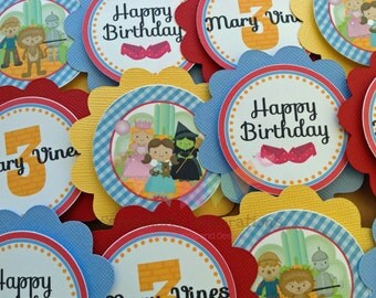 Set of 12 Personalized Wizard of Oz Inspired Cupcake Toppers -Wizard of Oz Collection -Wizard of Oz Birthday -Oz Party -Dorthy