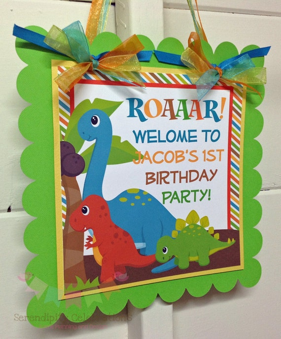 Il_570xn  sc 1 st  Catch My Party & Personalized Door Sign: Dinosaur -Party Sign -Hanging Sign -Baby ... pezcame.com