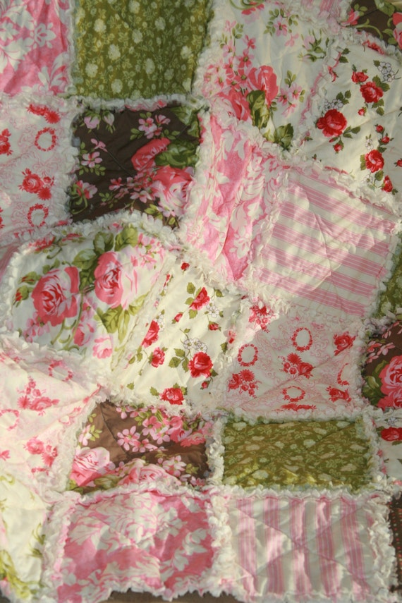 Crib Rag Quilt Baby Girl Crib Bedding Shabby Chic Rag by justluved