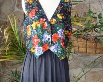90s SEQUIN FLORAL CROP vintage vest M