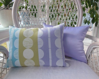 Spring Pillow - Purple Pillow - Lumbar Pillow - Triple Passion Design Pillow - Orchid, Aqua and Avocado Green - Reversible 12 x 16 Inch