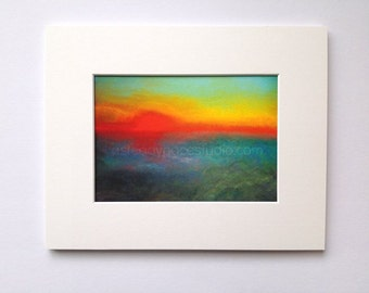 Red Sunrise 8 x 10 Matted Colorful Fine Art Print - Reproduction of Original Pastel Drawing - home decor, skyscape, wall art, modern