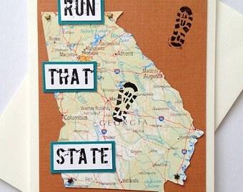 Georgia - Run (or RAN) That State, Enjoy Your Run / Race  / Happy Trails To You Handmade Running Greeting Card - Marathon, Half-Marathon