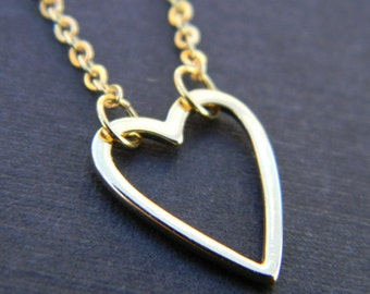 Heart Necklace in Gold-Valentine Gift-Bridal Jewelry-Wedding Jewelry