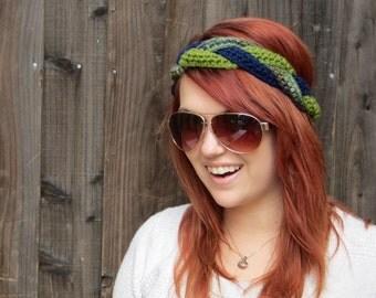 Braid Headband in Green and Navy (crochet ear warmer)