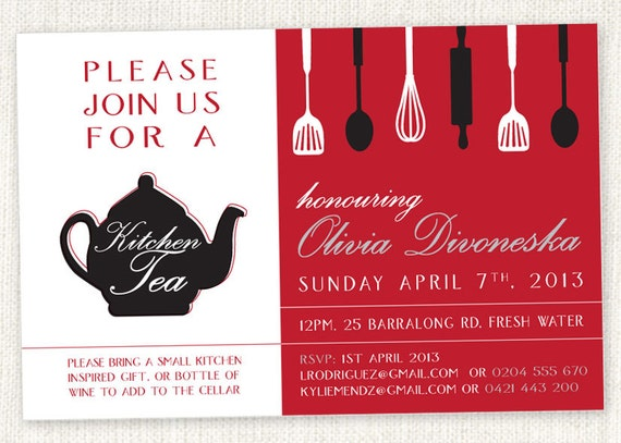 Silhouette kitchen tea teapot shower invitations like this item stopboris Images