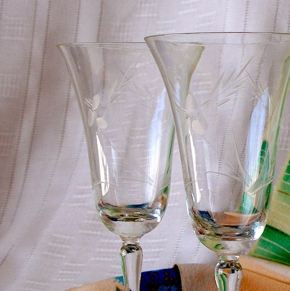 Antique Etched Crystal Wine Glasses Pair