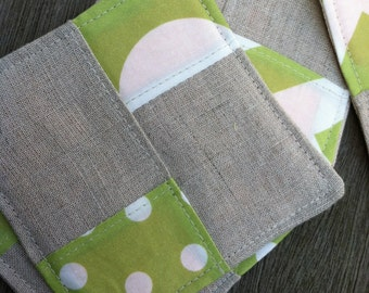 Linen Fabric Coasters Colorblock Apple Green