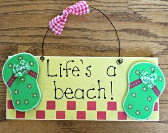 Wooden Life's a Beach Flip Flop Sign