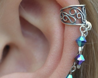 Filigree Ear Cuff with Dangling Crystals - Sterling Silver - SINGLE SIDE