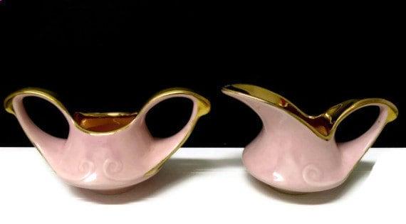 PINK Creamer & Sugar Bowl 22K Gold Trim