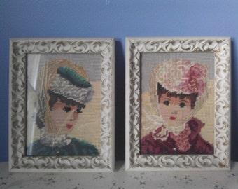 Vintage Glass Framed Victorian Lady Girl Cross-Stitch Portraits
