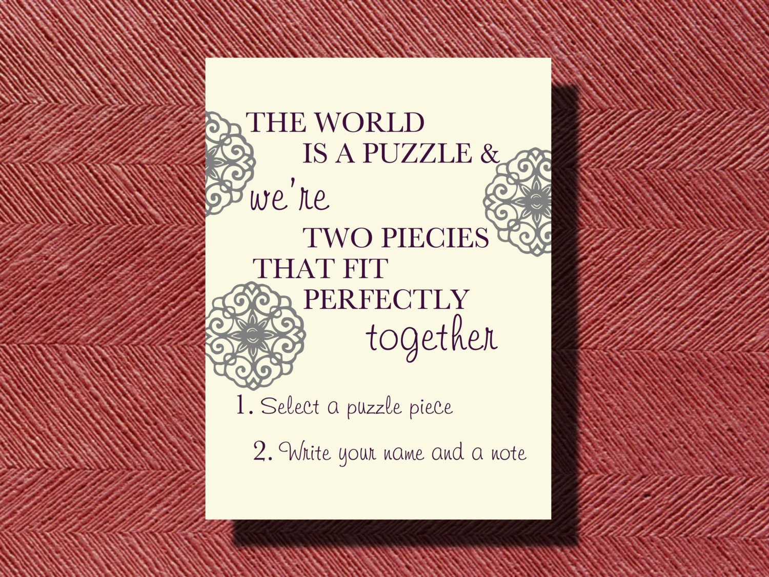 wedding puzzle piece guest book instructional by