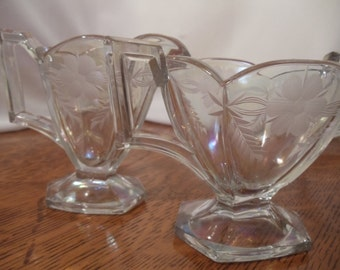 Vintage Heisey  Heavy Crystal Sugar and Creamer Set with Etched Flower Design