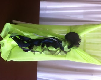 Custom Made Lime Gren Chiffon Chair Cover with Purple and Green Curly Accents