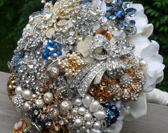 Extra Large Brooch and Jeweled Bouquet on Hydrangea.  Made to Order