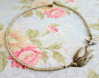 Bird necklace Mother's gift Baby shower Mother of one Mother of two Momma bird Sparrow New mom Choker necklace Antique brass Vintage style