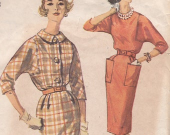 Simplicity 3591 Size 18 Bust 38 slim skirt dress sewing pattern 1960s