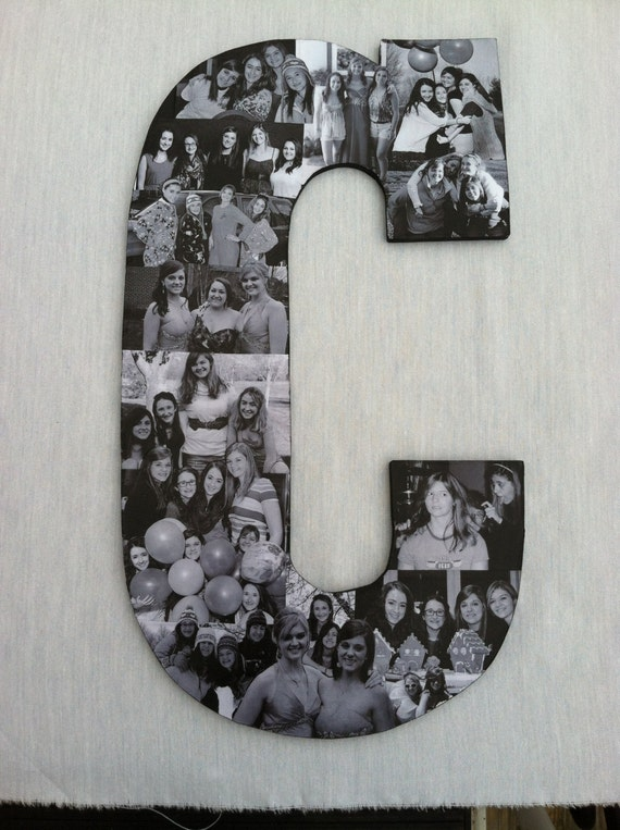 Custom photo collage letter girlfriend by picketfencecrafts for Room decor gifts