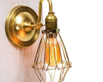 Caged Edison Brass Arm Wall Sconce