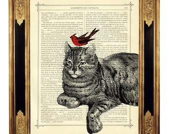 Red Bird and Cat Friendship - Vintage Victorian Book Page Art Print Steampunk