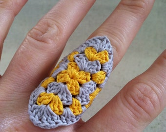 Crocheted Granny Square Ring, Yellow and Gray