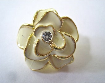 SALE Gold and Rhinestone Flower Button Embellishment SALE