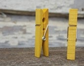 Mellow Yellow Clothespins In A Tin Wedding Place Card Holder Stained Clothespin Seating Chart Clothespin Colored Clothespin Card Holder Clip - DownInTheBoondocks