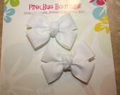 Boutique White Glitter Hair Bow Pair