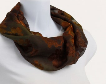 Elegant Infinity scarf - Rich Copper Floral BurnOut on a subtle Green Background ~ SH168-S5