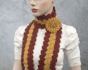 INSTANT DOWNLOAD Sonia Mustard and Brown Scarf Crochet with Flower - PDF Pattern