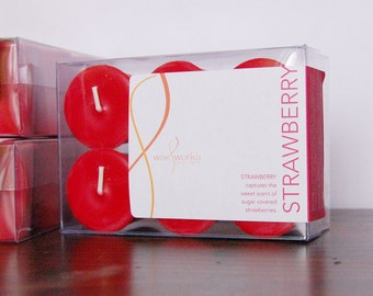 Strawberry - Set of 6 Red Scented Votive Soy Candles