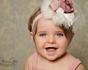 Antique Mauve Rose, Pearls, and Marabou, french Netting Vintage Newborn Infant Toddler Big Girl Headband