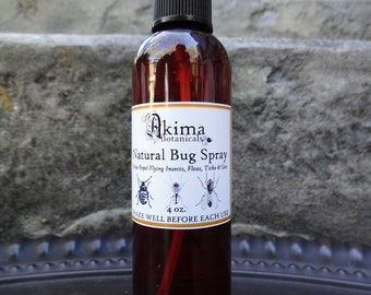 NATURAL BUG SPRAY 4 oz - Chemical free Repels flying insects, mosquitos, fleas, ticks, lice