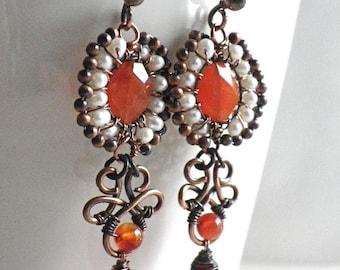Wire wrapped handmade earrings copper Carnelian Pearl gemstone jewelry