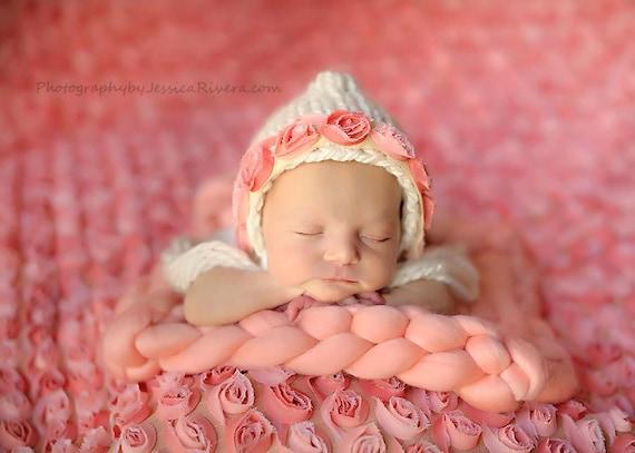 Newborn Coral floral trim bonnet