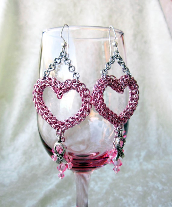 Full Persian Heart Earrings - Breast Cancer Awareness -  Pink Swarovski Crystal and Aluminum chainmaille