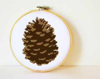Counted Cross stitch Pattern PDF. Instant download. Pine cone. Includes easy beginner instructions.