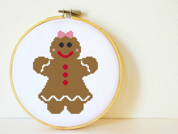 Counted Cross stitch Pattern PDF. Instant download. Gingerbread Girl. Includes easy beginner instructions.