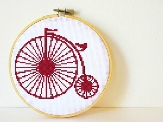 Counted Cross stitch Pattern PDF. Instant download. Penny Farthing. Includes easy beginners instructions.