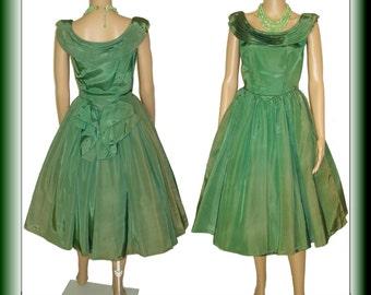 Vintage 1950s Dress .  Full Circle Shark Skin Couture New Look Mad Men Rockabilly Garden Party Designer Cocktail Femme Fatale Pinup