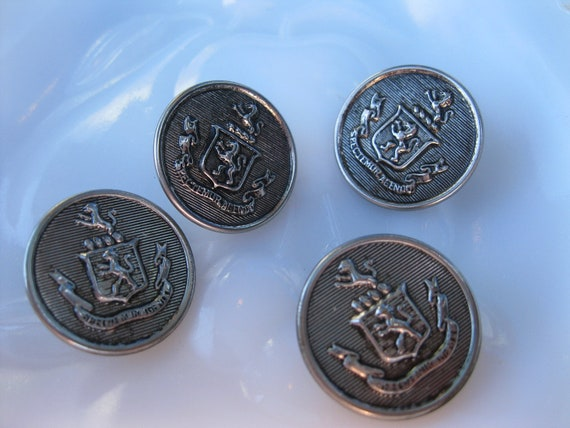 SALE Spectemur Agendo Buttons  - Silver Color - Group of 4