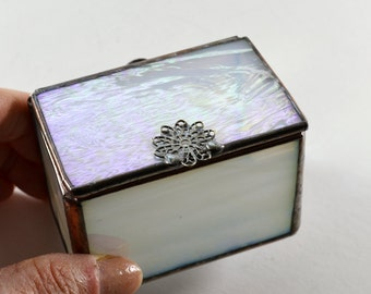 Stained Glass Lidded Box Frosted White Iridescent